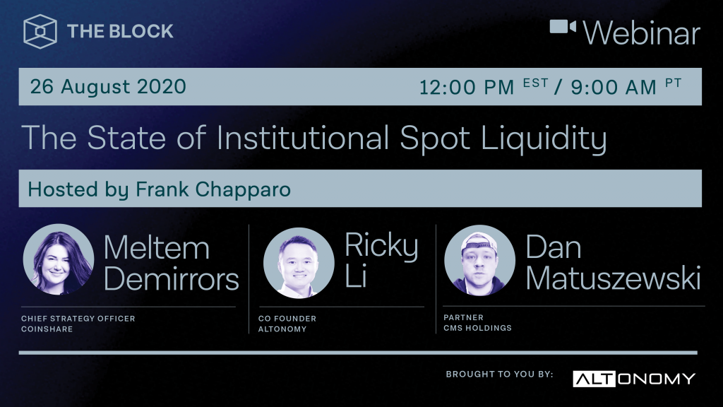 [SPONSORED] The Block Presents: The State of Institutional Spot Liquidity – Brought to you by Altonomy